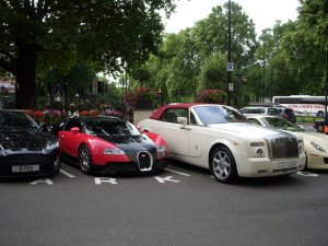 RR phantom or some insanely custom italian car, each about 1,000,000£ a pop.
