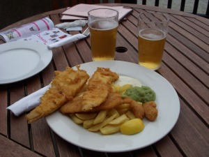 Fish and Chips mixed Platter, with mushy peas