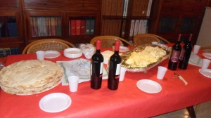 Typical Sardinian set-up: Pane Carusau, Cannonau wine, Pecorino, and of course cured meats. Vegetables no where to be seen